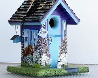 Purple and Turquoise Handcrafted Birdhouse , Hand Painted with lots of Color , with Clean Out