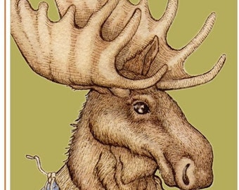 "Moose Moderne 5""x7"" blank greeting card"