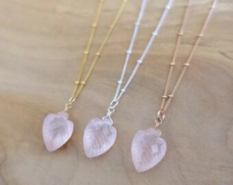 Rose Quartz Necklace, Rose Quartz Arrowhead Necklace, Rose Quartz Leaf Necklace, Gold Filled Rose Quartz Necklace, Sterling Silver Necklace