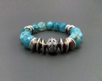 Cyan Blue Dragons Vein Agate Chunky Gemstone Bead Stretch Bracelet Handmade, elastic bracelet, Bali Sterling Silver bead