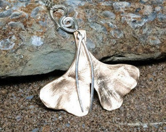 Ginkgo Necklace, Gingko Pendant, Bronze Jewelry, Bronze Ginkgo Leaf Pendant, Ginkgo Leaf, Bronze Ginkgo Leaf, Necklaces For Mothers