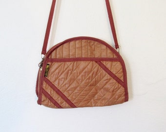Vintage 1980s New Wave / Rocker Bagatti Quilted Shoulder Bag / Clutch Purse
