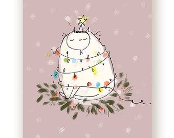 Funny Christmas Card - Christmas Lights Cat Card - Christmas Cat Card