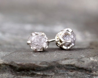 Rough Diamond Earrings - Sterling Silver Vintage Inspired - 2 Carat Stud Earring - April Birthstone - Uncut Diamond - Conflict Free Diamonds