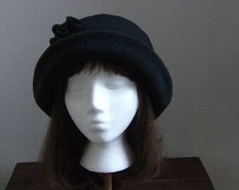 Rich Black Fleece Hat with rose, Women's Winter Hat, Winter Fleece Hat, Black Fleece Hat