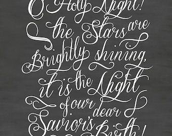 O Holy Night vinyl decal, Christmas chalkboard quote, Christmas wall decal, DB342