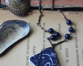 The Depths. Rustic Boho Chic Beach Vintage Cobalt Pottery Shard and Lapis Long Necklace.