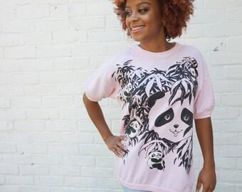 1980s T Shirt Pink Panda Top