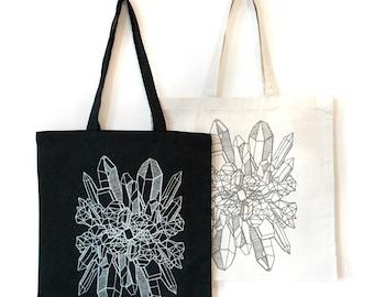 Crystal Tote Bag, Silver Tote Bag, Crystal Handbag, Women's clothing, Bags and Purses, Crystal Print Bag, Boho chic silver glitter Tote bag