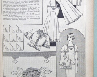 Vintage French Embroidery Book Les Jours Modernes a Fils Tires Lingerie No 4 1940s needlework sewing women's underwear drawn thread work etc