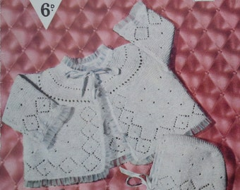 Vintage 1950s Knitting Pattern Newborn Baby Outfit / Layette Birth to 6 Months Matinee Coat Hat Bootees Mittens Bestway 3499 UK original