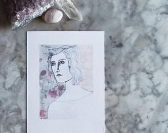 The Lady Awaits by Jules Tillman. collage art print. portrait art print. cottage chic portrait art. floral. soft colors. drawing.