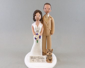 Bride & Groom with a Dog Customized Wedding Cake Topper