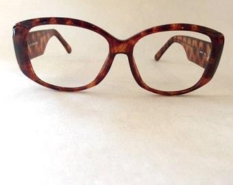 Vintage glasses Faux Tortoise Shell Glasses Large glasses retro glasses oversized glasses Rectangle glasses Liz Claiborne glasses frames