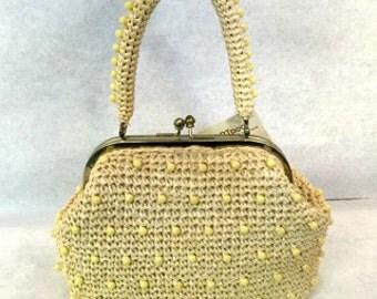 Vintage handbag 1960s handbag Straw handbag Woven handbag Beaded handbag retro handbag Metal Clasp Handbag vintage purse straw purse