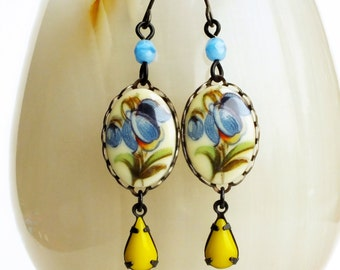 Blue Flower Earrings Vintage Blue Floral Cameo Earrings Blue Dangles Victorian Floral Jewelry Blue Yellow Summer Cameo Jewelry