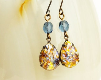 Yellow Opal Earrings Vintage Topaz Glass Earrings Harlequin Fire Opal Jewelry Yellow Glass Earrings Yellow Jewel Dangles