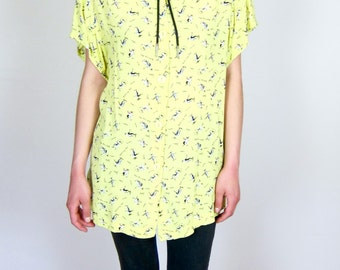 Yellow Patterned 80's Blouse