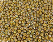 1/0 (6.5x4mm) Opaque Yellow Base with Green Stripes Silver Picasso Czech Glass Seed Beads 20 Grams (CS156)