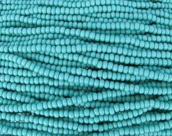 6/0 Opaque Turquoise Czech Glass Seed Bead Strand (CW114)