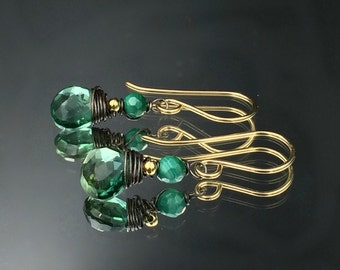 Emerald Green Earrings Green Quartz Malachite Gold Fill Oxidized Silver Mixed Metal Wire Wrap Gemstones Petite Minimalist Earrings