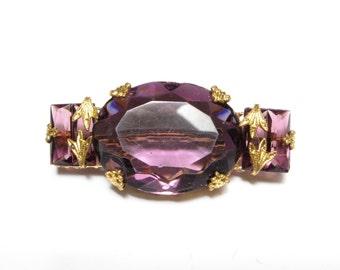 VINTAGE Antique BROOCH Czech GLASS Rhinestone Pin Gilt Gold Brass Amethyst Purple Victorian Art Nouveau Edwardian Old Jewelry