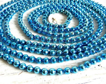 Vintage Christmas Blue Glass Garland | Aqua Blue Garland | Christmas Tree Decoration | Vintage Glass Garland