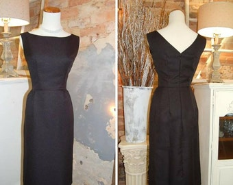 1960s Style Dress - Audrey Hepburn - 1960s Wiggle Dress - Pin Up Dress - Jackie O Style Dress - Little Black Dress - Handmade USA
