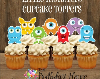 Little Monsters Party - Set of 12 Assorted Monster Cupcake Toppers by The Birthday House