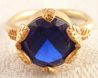 Vintage Size 7 Gold Tone Sterling Round Blue Spinel Gemstone Ring