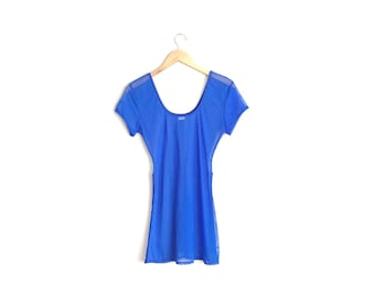 Size XS // MESH TUNIC // Royal Blue - Sheer - Vintage '90s.