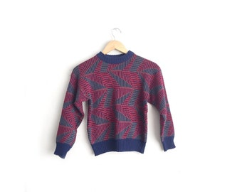 Size Youth M or Women's XS // ABSTRACT PATTERNED Sweater // Geometric - Red & Navy Blue - Knit Pullover - Acrylic Jumper - Vintage '80s.
