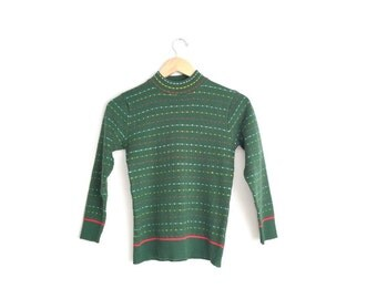 Size Youth 9/10 // PATTERNED KNIT SWEATER // Hunter Green - Mock Turtleneck - Vintage Holiday Pullover.