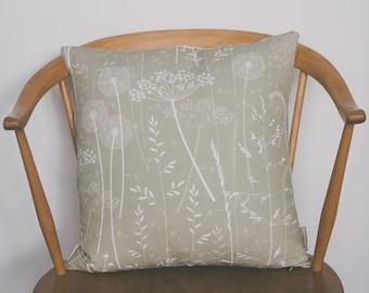 Floral Botanical Design Sofa Cushion / Gift Ideas / Gifts for Her / Paper Meadow / Kraft / Hannah Nunn