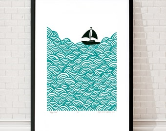 Bigger Boat Limited Edition Screen Print (Green Lagoon) A2 size