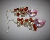 Heart Earrings, Cluster Earrings, Pink Heart Earrings, Heart Earrings, Valentines Earrings, Dangle Heart Earrings