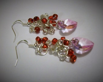 Cluster Earrings, heart earrings, Pink Heart Earrings, Heart Earrings, Valentines Earrings, Dangle Heart Earrings