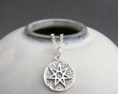 sterling silver fairy star necklace small amulet charm. faerie. tiny wiccan septagram jewelry. layering. astrology white magic pendant 1/2""