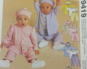Easy Infant Top TShirt Pull On Pants and Hat Pattern  Mccall 9419 Infant Baby Size Small to XLarge  13lbs to 24lbs