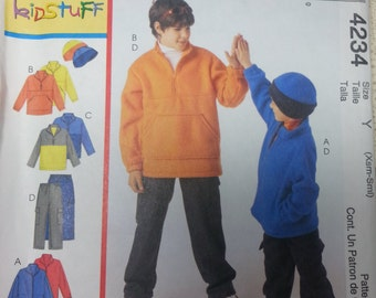 Mccalls 4234 Boys Fleece Pattern Childrens Fleece Jacket Top Pants and Hat Pattern Childrens Size Xsmall to small Size 3 to 6
