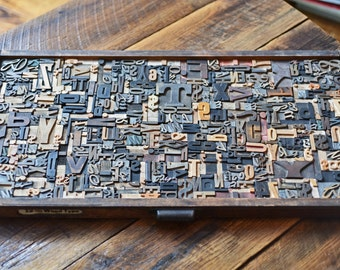 Full Drawer of Wood Type Letterpress Printing Blocks Mix 440+ Pieces