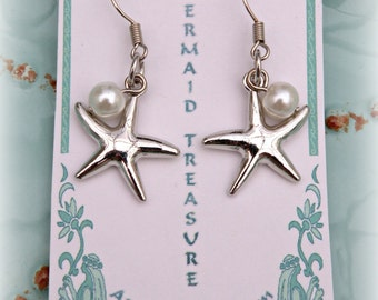 Starfish and Pearl Bead Earrings