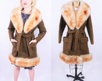 "1970s fur collar coat | brown plaid boho large faux fur collar mini coat | vintage 70s coat | W 39"""