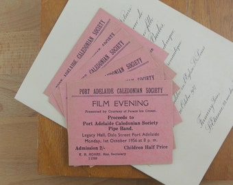 Vintage Cinema / Film Evening Tickets|  Adelaide Australia Lot of 6 Pink Movie Night Tickets 1950's