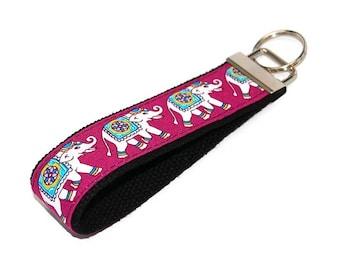 Elephant Keychain  -  Fabric Key Fob Wristlet