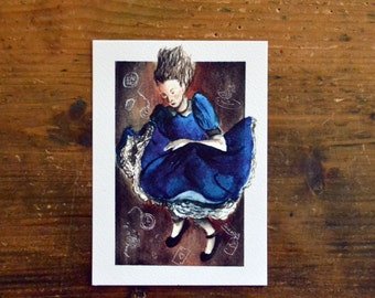 Down the Rabbit Hole Postcard. Print watercolor Illustration from Alice in Wonderland by Lewis Carroll