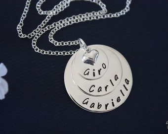 Personalized Mother Necklace, Grandma Necklace, Mommy Gift, Sterling Silver, 3 name charms