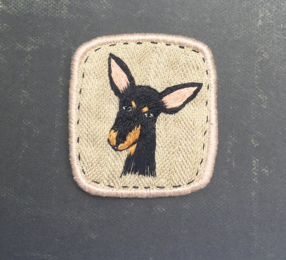 Textile Dog Brooch. Doberman puppy with big ears -  Funny Dogs - collection, hand embroidered textile jewelry, pet portrait brooch.