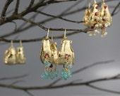 Hoop Earrings, Boho Earrings, Gold Filled Gypsy Earrings, Boho Hoop Earrings, Boho Ruby Earrings, Statement, Boho Chic, Bohemian Earrings