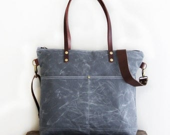 Waxed Canvas Tote in Charcoal Grey with Exterior Pockets